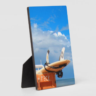 Surf surfboard rack surfing blue white clouds plaque