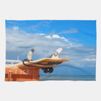 Surf surfboard rack surfing blue white clouds towel