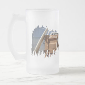 Surf surfboard stoked surfing blue brown frosted glass beer mug