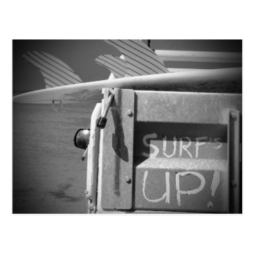 Beach Themed Surf surfboard surf's Up surfing black and white Postcard