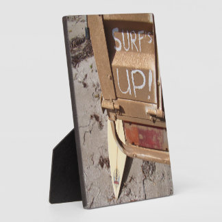 Surf surfboard surf's up surfing grey brown plaque