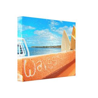 Surf surfboard waves surfing blue orange canvas print