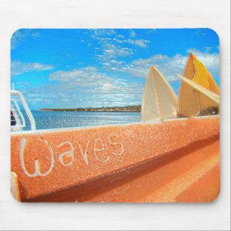 Surf surfboard waves surfing blue orange mouse pad