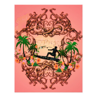 Surf, surfboarder with floral elemetns a letterhead