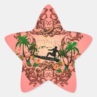 Surf, surfboarder with floral elemetns a star sticker