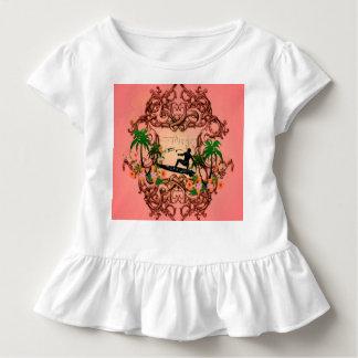 Surf, surfboarder with floral elemetns toddler t-shirt