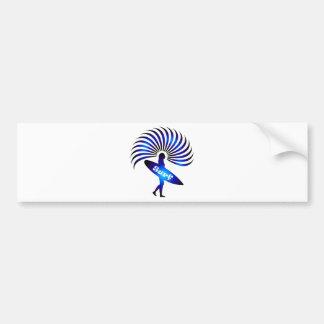surf surfer surfing board wave sun beach bumper sticker