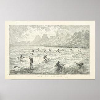 Surf-Swimming, Sandwich Islands Poster