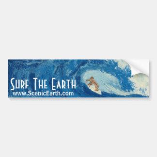 Surf The Earth Surfing Surfer Bumper Sticker Art Car Bumper Sticker