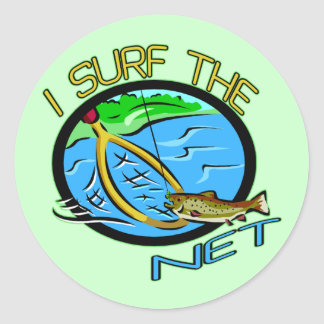 Surf The Net Fishing T-shirts and Gifts Classic Round Sticker