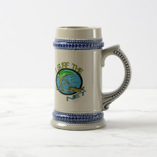 Surf The Net Fishing T-shirts and Gifts 18 Oz Beer Stein