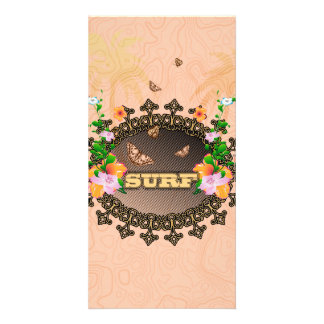 Surf, the word with flowers photo card