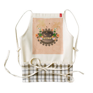 Surf, the word with flowers zazzle HEART apron