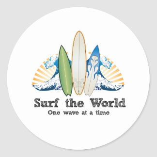 Surf the World, One Wave at a Time Classic Round Sticker
