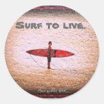 Surf to Live Classic Round Sticker