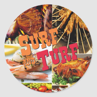 Surf & Turf Classic Round Sticker