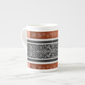 Surf Viking Symmetrical Scroll Flourishing Design Tea Cup