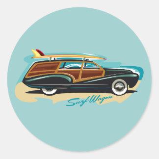 Surf Wagon Woody Classic Round Sticker