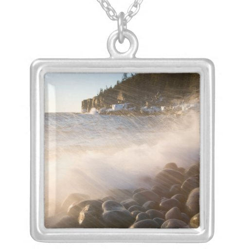 Surf washes over the cobblestones in Monument Custom Necklace
