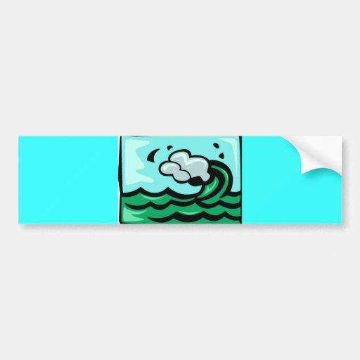 Surf Wave 700 blues greens cartoon graphics summer Car Bumper Sticker