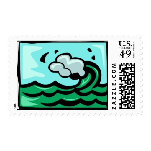 Surf Wave 700 blues greens cartoon graphics summer Postage Stamp