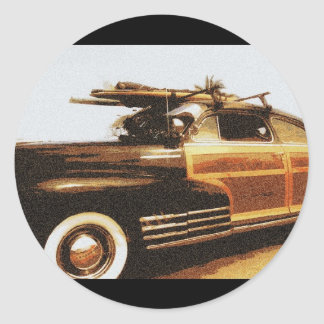 Surf Woody Classic Round Sticker