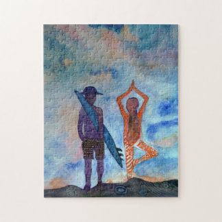 Surf Yoga Painting Art Photo Puzzle with Gift Box