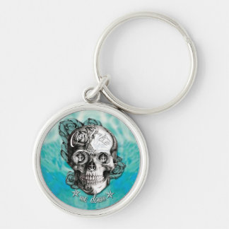 Surfabilly Nautical rose skull on waves background Keychain