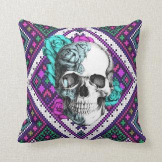 Surfabilly rose skull on aztec pixels pillow