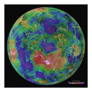 Surface Elevation Map of the Planet Venus Photo Art