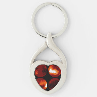 Surface Features Cover Saturn's Moon, Titan Silver-Colored Heart-Shaped Metal Keychain