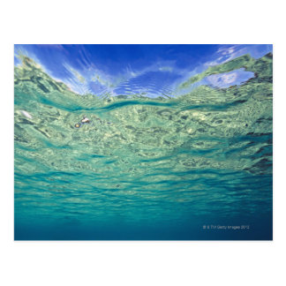 Surface of clear topical sea seen from postcards