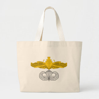 Surface Warfare Officer with Basic Jump Wings Large Tote Bag