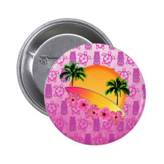 Surfboard and Hibiscus Flowers 2 Inch Round Button