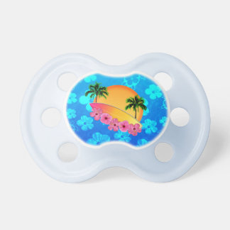 Surfboard and Hibiscus Flowers BooginHead Pacifier