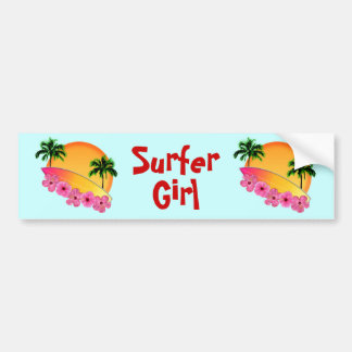 Surfboard and Hibiscus Flowers Car Bumper Sticker