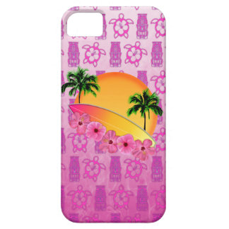 Surfboard and Hibiscus Flowers iPhone 5 Cases