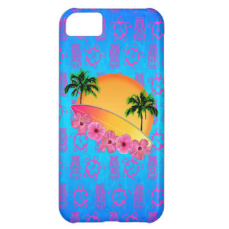 Surfboard and Hibiscus Flowers Case For iPhone 5C