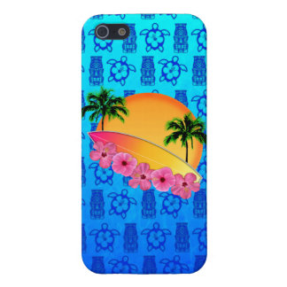 Surfboard and Hibiscus Flowers Case For iPhone SE/5/5s