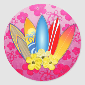 Surfboard and Hibiscus Flowers Classic Round Sticker