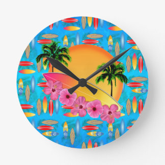 Surfboard and Hibiscus Flowers Round Wall Clocks