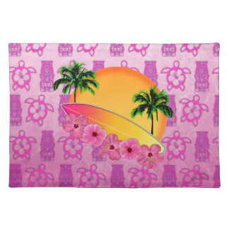 Surfboard and Hibiscus Flowers Cloth Placemat