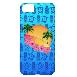 Surfboard and Hibiscus Flowers Cover For iPhone 5C