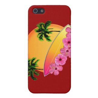 Surfboard and Hibiscus Flowers Cover For iPhone SE/5/5s