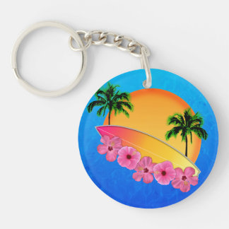 Surfboard and Hibiscus Flowers Double-Sided Round Acrylic Keychain