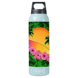 Surfboard and Hibiscus Flowers Insulated Water Bottle