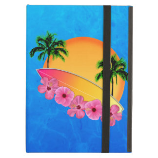 Surfboard and Hibiscus Flowers iPad Air Cover