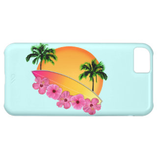 Surfboard and Hibiscus Flowers iPhone 5C Case