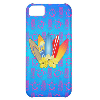 Surfboard and Hibiscus Flowers iPhone 5C Cover