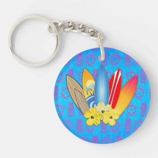 Surfboard and Hibiscus Flowers Keychain